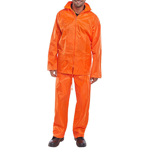 B-Dri Weatherproof Nylon Protective Work Coverall Suit Size L Orange Ref NBDSORL