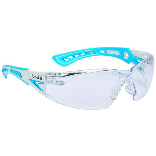 Bolle Rush+ RUSHPSPSI Small Safety Glasses Clear &Blue Frame with Platinum Coating Ref BORUSHPSPSIPLUS