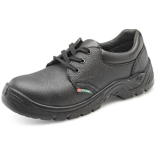 Click Footwear Economy Work Shoes S1P PU/Leather Size 6.5 (40) Black - Steel Toe Cap & Midsole Protection, Shock Absorber Heel, Anti-static, Oil Resistant Sole, Slip Resistant Ref CDDSMS06.5