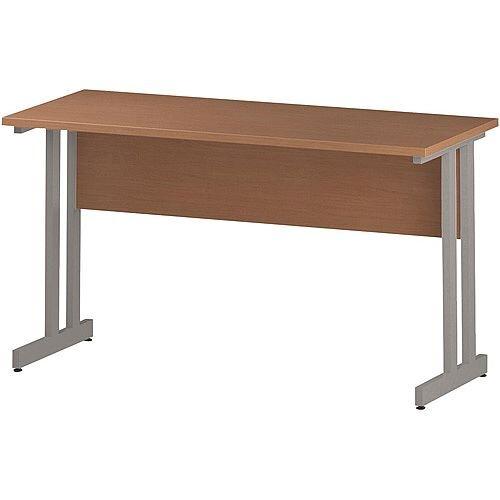 Rectangular Double Cantilever Silver Leg Slimline Office Desk Beech W1400xD600mm