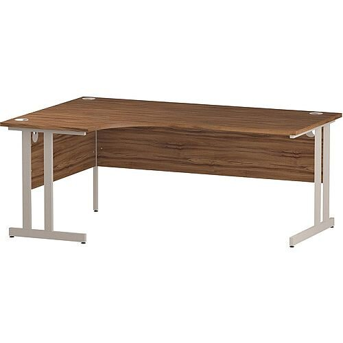 L-Shaped Corner Left Hand Double Cantilever White Leg Office Desk Walnut W1800mm