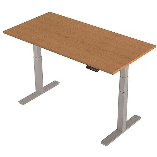 1600x800mm Height Adjustable Rectangular Sit-Stand Desk Oak with Silver Frame