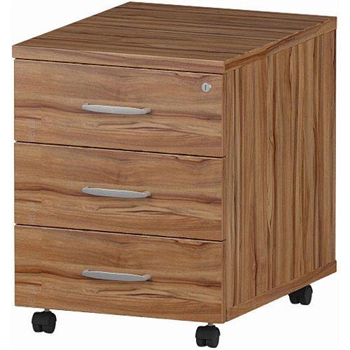 3 Drawer Mobile Desk Pedestal Walnut