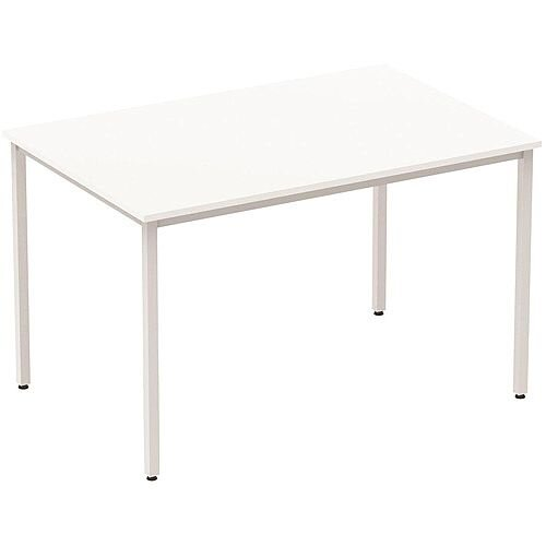 Rectangular Table White with Silver Frame 1200x800mm