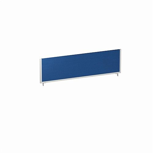Office Desk Screen 1400mm Blue with Silver Frame