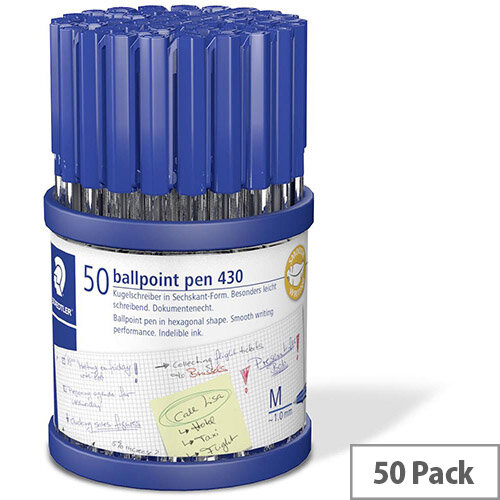 Staedtler Stick 430 Medium Ballpoint Pen Line Width 0.35mm Tip With 1.0mm Blue Pack 50