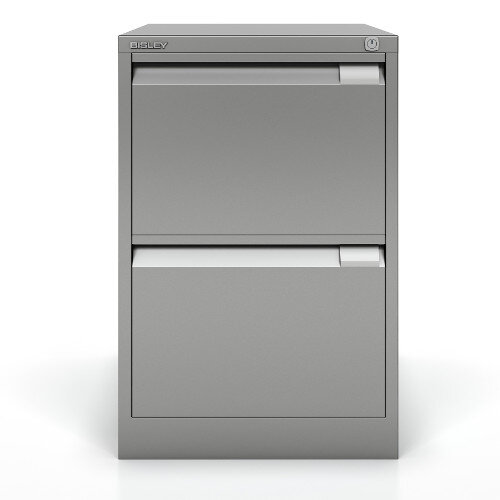2 Drawer Steel Filing Cabinet Flush Front Silver Bisley BS2E