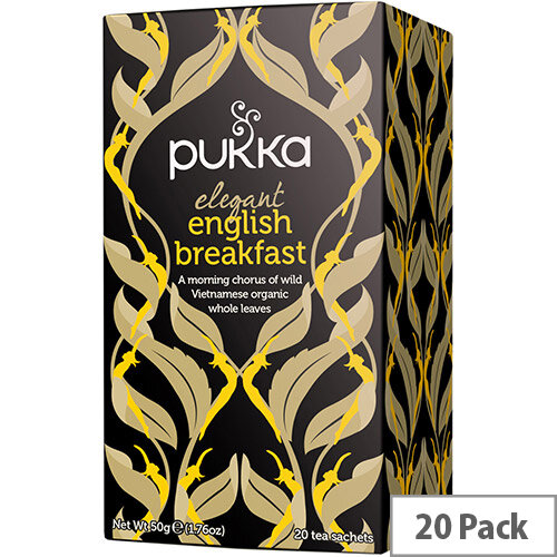 Pukka Individually Enveloped Tea Bags Elegant English Breakfast Ref 5060229011596 Pack of 20