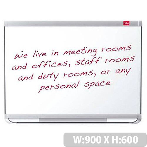Nobo Prestige 600x900mm Drywipe Board Enamel Magnetic with Aluminium Trim and Fixings Markers Magnets Ref 1902674