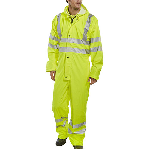 B-Seen Super B-Dri Breathable Hi-Vis Work Coverall Size 2XL Saturn Yellow Ref PUC471SYXXL
