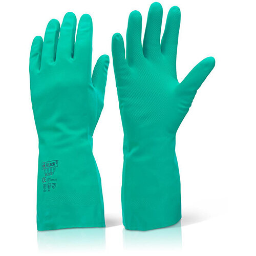 Click2000 Nitrile Gauntlet Flocked Lined Size L (9) Green Pack of 10 Pairs - A High Level of Resistance to Abrasion, Solvents and Animal Fats, Embossed Finish to Palm, Silicon &Wax Free Ref NGL