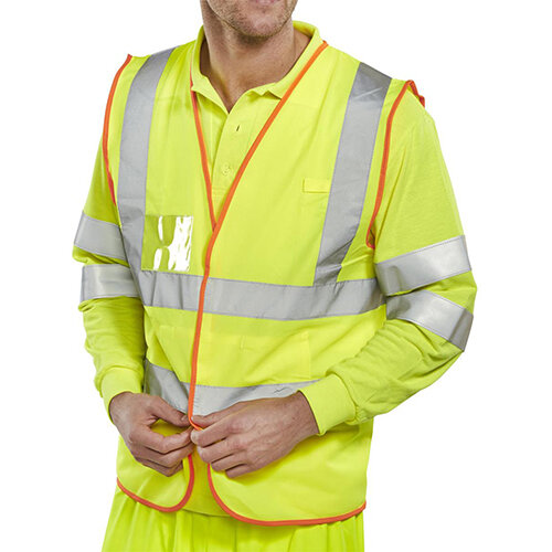 B-Safe Pre-Pack Vest Multipurpose Reflective Size XL Saturn Yellow Ref BS061XL