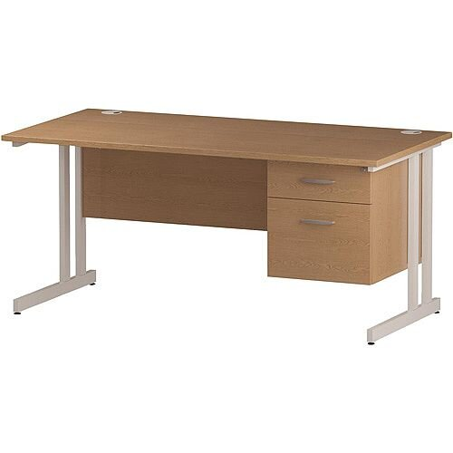 Rectangular Double Cantilever White Leg Office Desk With Fixed 2 Drawer Pedestal Oak W1400xD800mm