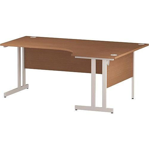 L-Shaped Corner Right Hand Double Cantilever White Leg Office Desk Beech W1800mm