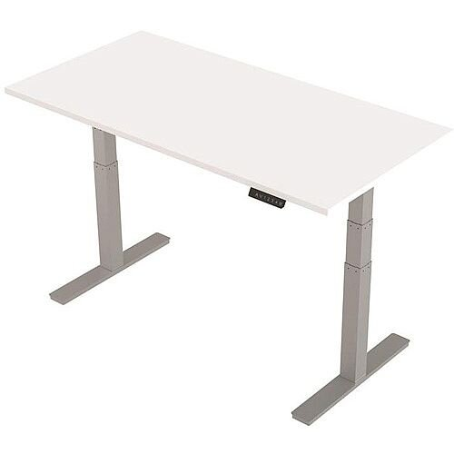 1600x800mm Height Adjustable Rectangular Sit-Stand Desk White with Silver Frame
