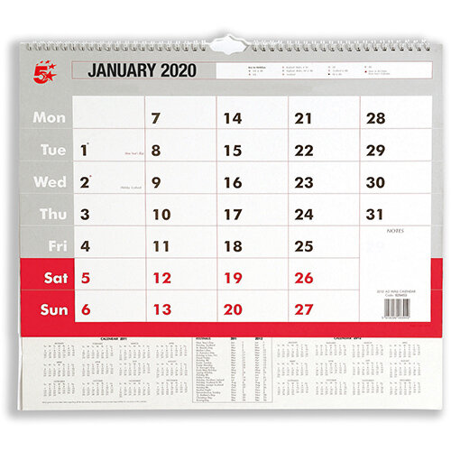 5 Star Office 2020 Wall Calendar Month to View Wirebound 135gsm Paper A3 297x420mm White/Red