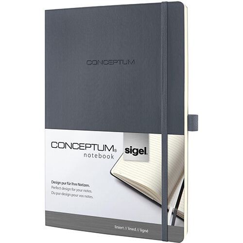 Sigel Conceptum Notebook Soft Cover Lined And Numbered 194 Pages Dark Grey Ref CO319