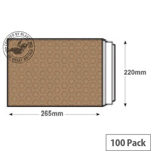 Blake Purely Packaging 260x220mm Peel and Seal Padded Envelopes Gold Pack of 100