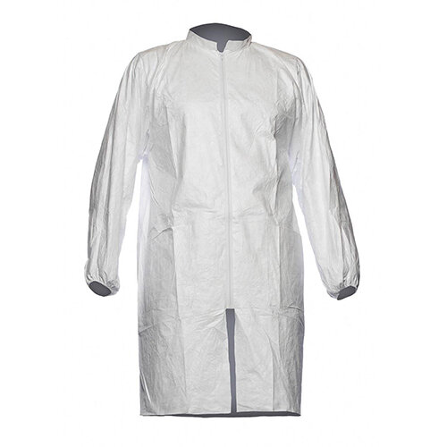 Tyvek 500 Disposable Labcoat PL309 With Two Pockets &Zip PPE Cat 1 Size XL White Ref TPL309XL