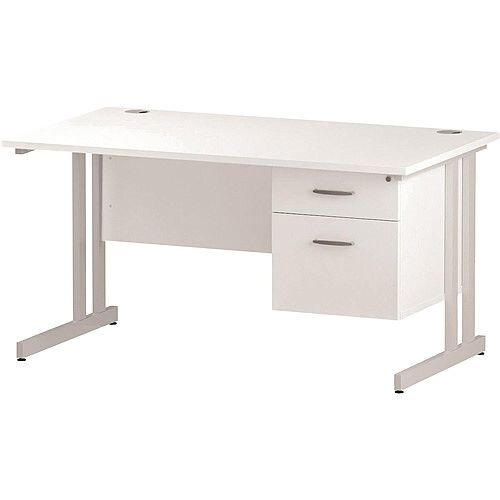 Rectangular Double Cantilever White Leg Office Desk With Fixed 2 Drawer Pedestal White W1400xD800mm