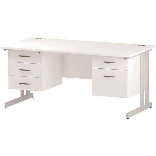 Rectangular Double Cantilever White Leg Office Desk With 2 Fixed Pedestals 3/2 Drawer White W1600xD800mm