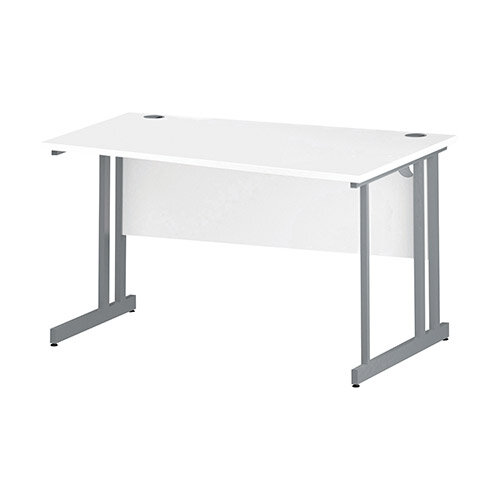 Wave Double Cantilever Silver Leg Right Hand Office Desk White W1400mm