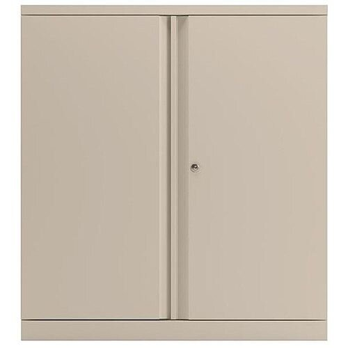 Bisley Two Door Steel Storage Cupboard Low 1000mm Cupboard with Shelf White