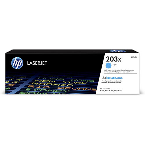 HP 203X Yield: 2,500 Pages High Yield Original LaserJet Toner Cartridge Cyan Ref CF541X