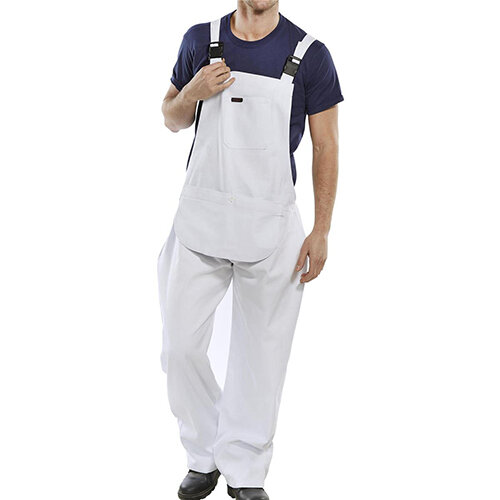 Click Workwear Bib &Brace Cotton Drill 32 inch Protective Trousers White Ref CDBBW32