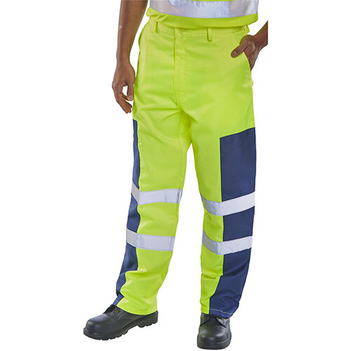 Click Workwear Hi-Vis Nylon Patch Safety Trousers 32 inch Waist with Tall Leg Saturn Yellow &Navy Blue Ref PCTSYNNP32T