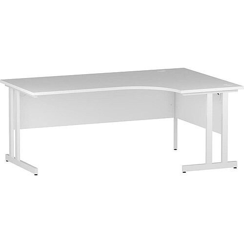 L-Shaped Corner Right Hand Double Cantilever White Leg Office Desk White W1800mm