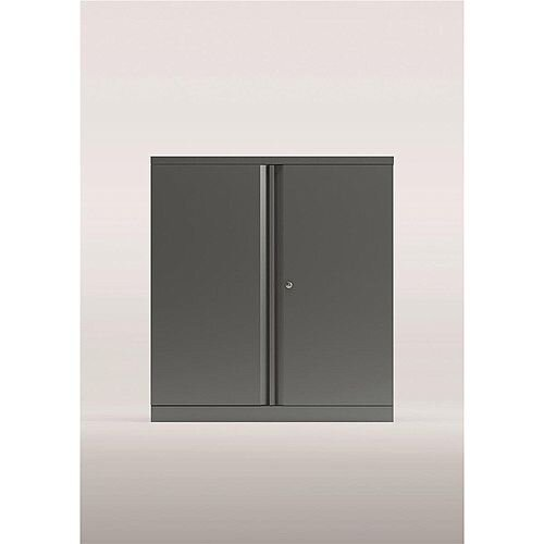 Bisley Two Door Steel Storage Cupboard Low 1000mm Cupboard with Shelf Silver
