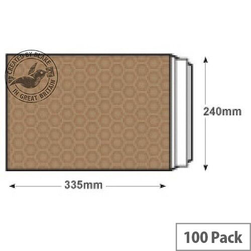 Blake Purely Packaging 340x230mm Peel and Seal Padded Envelopes Gold Pack of 100