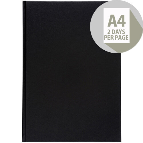 5 Star Office 2020 Diary Two Days to Page Casebound and Sewn Vinyl Coated Board A4 297x210mm Black