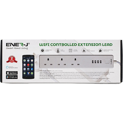 Ener-J WiFi Power Extension Lead With 3 AC Ports And Surge Protector Ref SHA5207