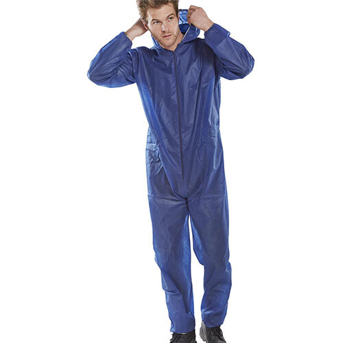 Click Once Poly Disposable Boilersuit Work Overall Size M Blue Pack of 50 Ref PDBSHNM