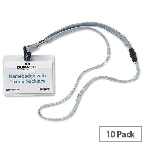 Durable Name Badge with Lanyard and Safety Closure 44cm Grey Pack 10