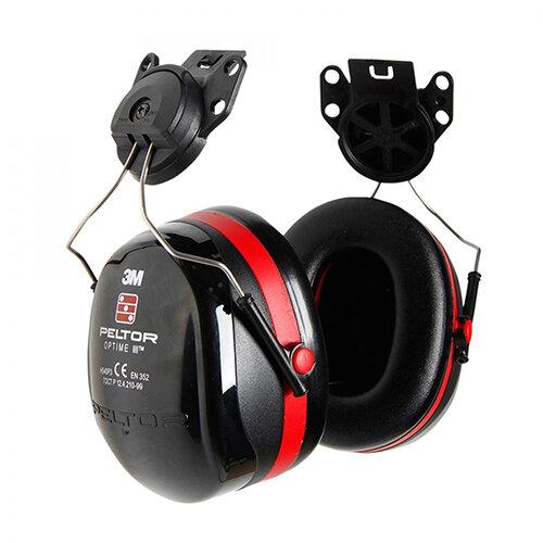 3M PELTOR Optime III H540P3E Helmet Mounted Ear Defender Headset SNR34 Black &Red Ref H540P3E-413-SV