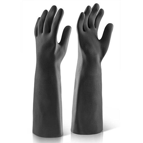 Click2000 Industrial Gauntlet Latex 18inch Black Size 8 Ref BK1808
