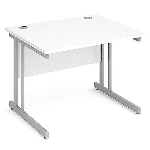 Rectangular Double Cantilever Silver Leg Office Desk White W1000xD800mm