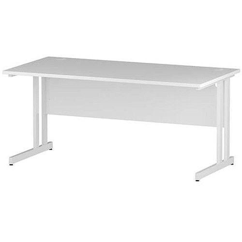 Rectangular Double Cantilever White Leg Office Desk White W1600xD800mm