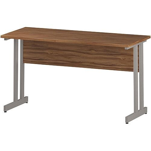 Rectangular Double Cantilever Silver Leg Slimline Office Desk Walnut W1400xD600mm