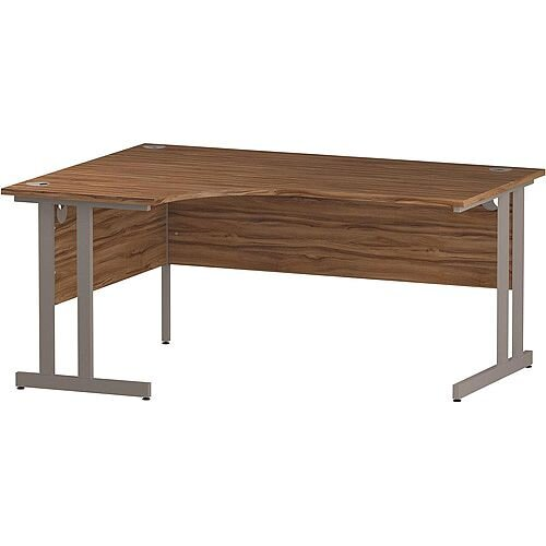 L-Shaped Corner Left Hand Double Cantilever Silver Leg Office Desk Walnut W1600mm