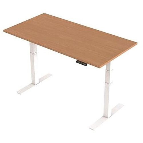 1600x800mm Height Adjustable Rectangular Sit-Stand Desk Beech with White Frame