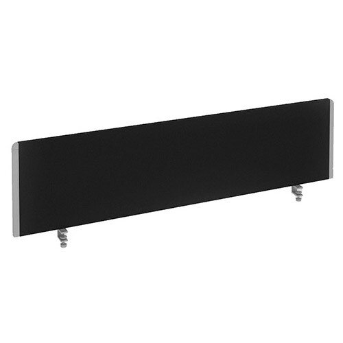 Straight Office Desk Privacy Screen W1400xD300mm Black With Silver Trim
