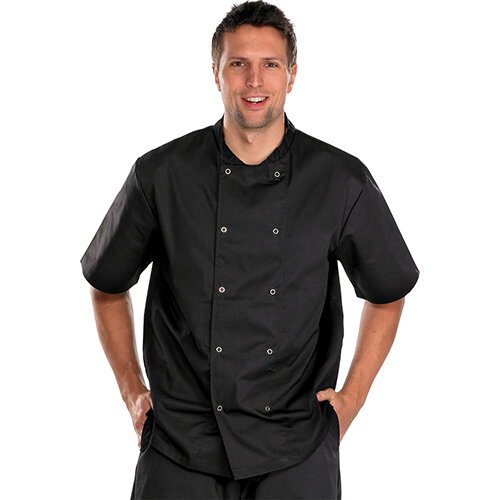 Click Workwear Short Sleeve Chefs Jacket Size 2XL Black Ref CCCJSSBLXXL