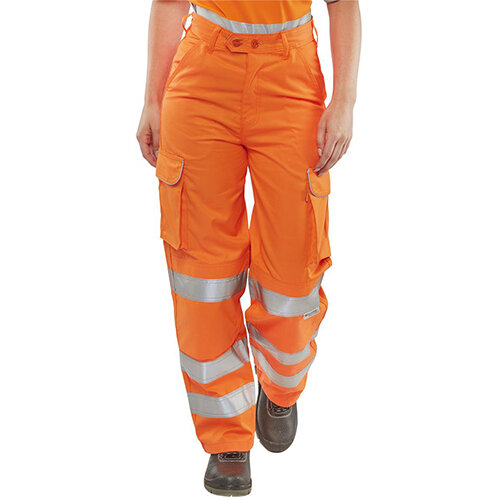 B-Seen Rail Spec Ladies Teflon Hi-Vis Reflective Safety Trousers 30 inch Waist with Regular Leg Size 12 Orange Ref LRST30