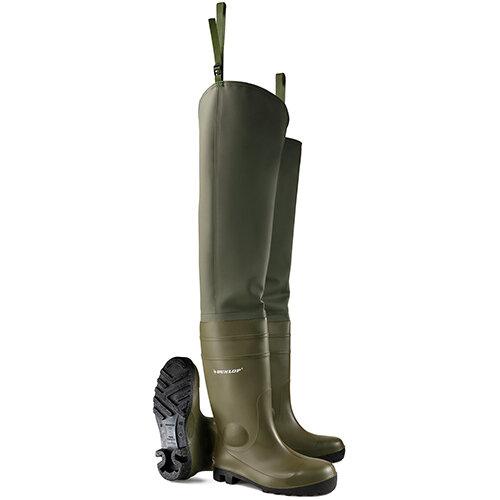 Dunlop Safety Thigh Wader Size 10 Green Ref PTWFS10