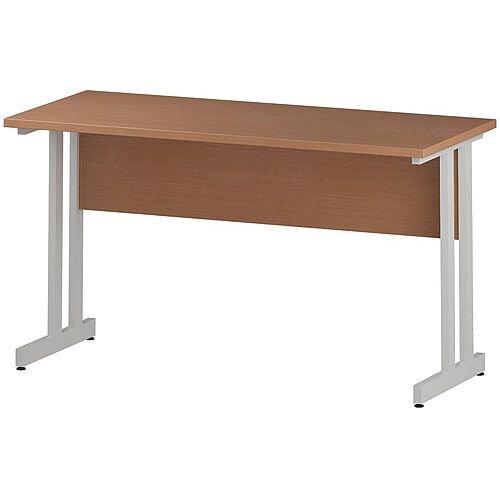 Rectangular Double Cantilever White Leg Slimline Office Desk Beech W1400xD600mm