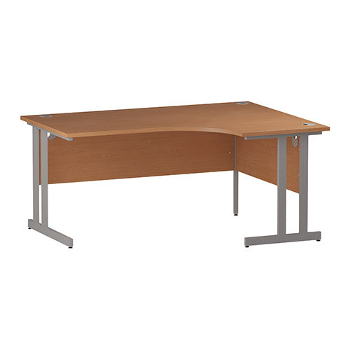 L-Shaped Corner Right Hand Double Cantilever Silver Leg Office Desk Beech W1600mm